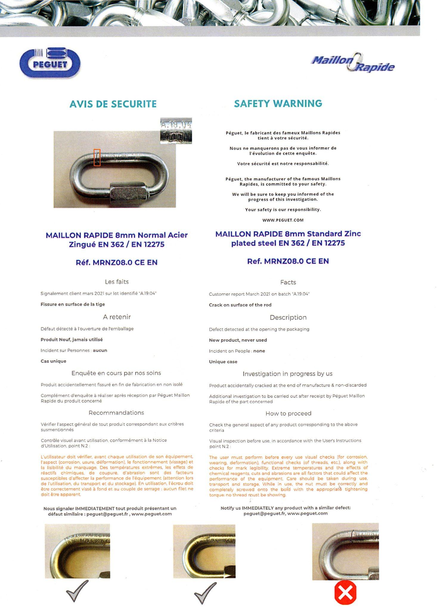Das Bild zeige eine Sicherheitswarnung von Peguet zu Maillon Rapide Schraubgliedern.