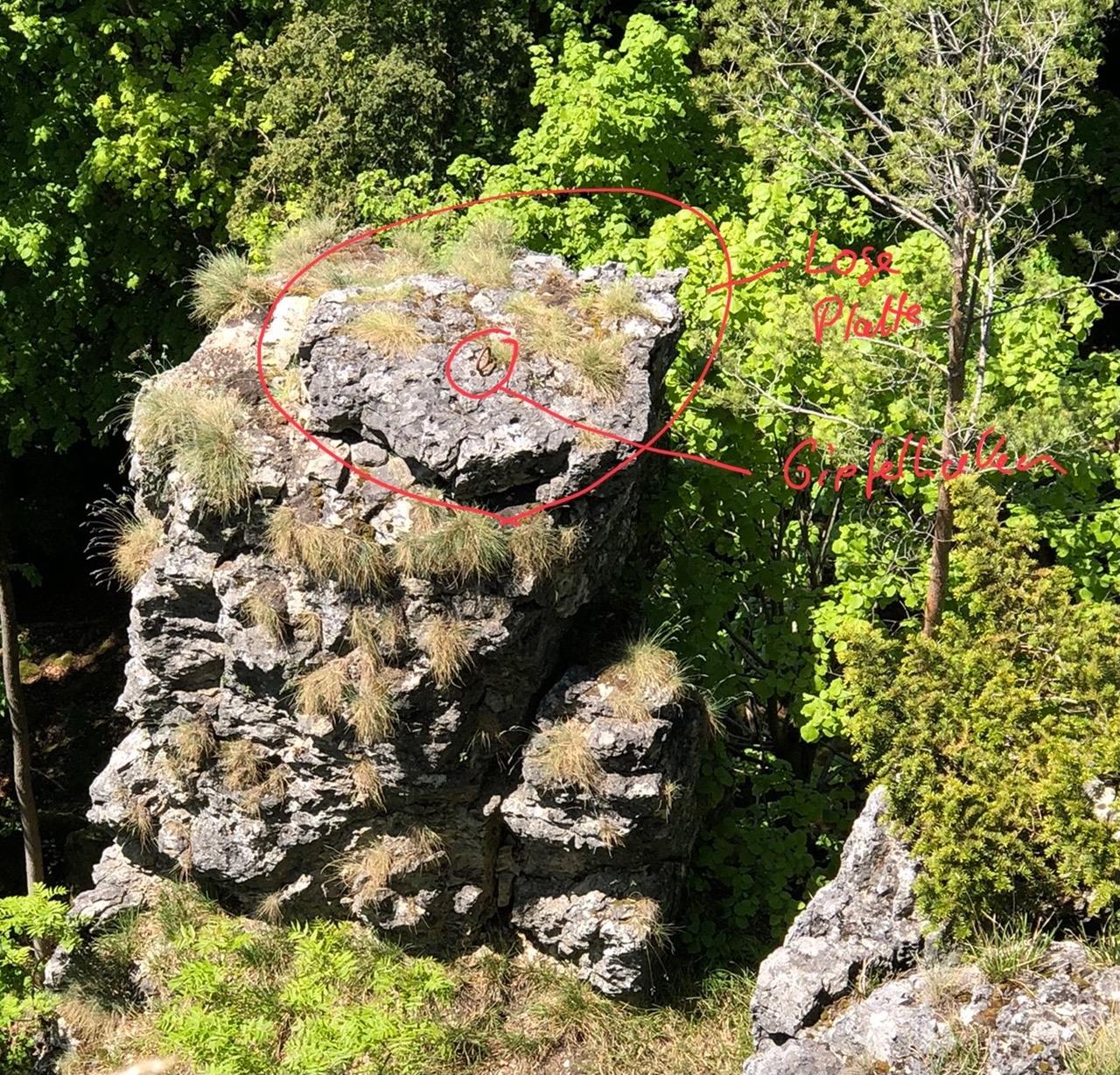 Das Bild zeigt die lose Gipfelplatte am Balkenstein von oben