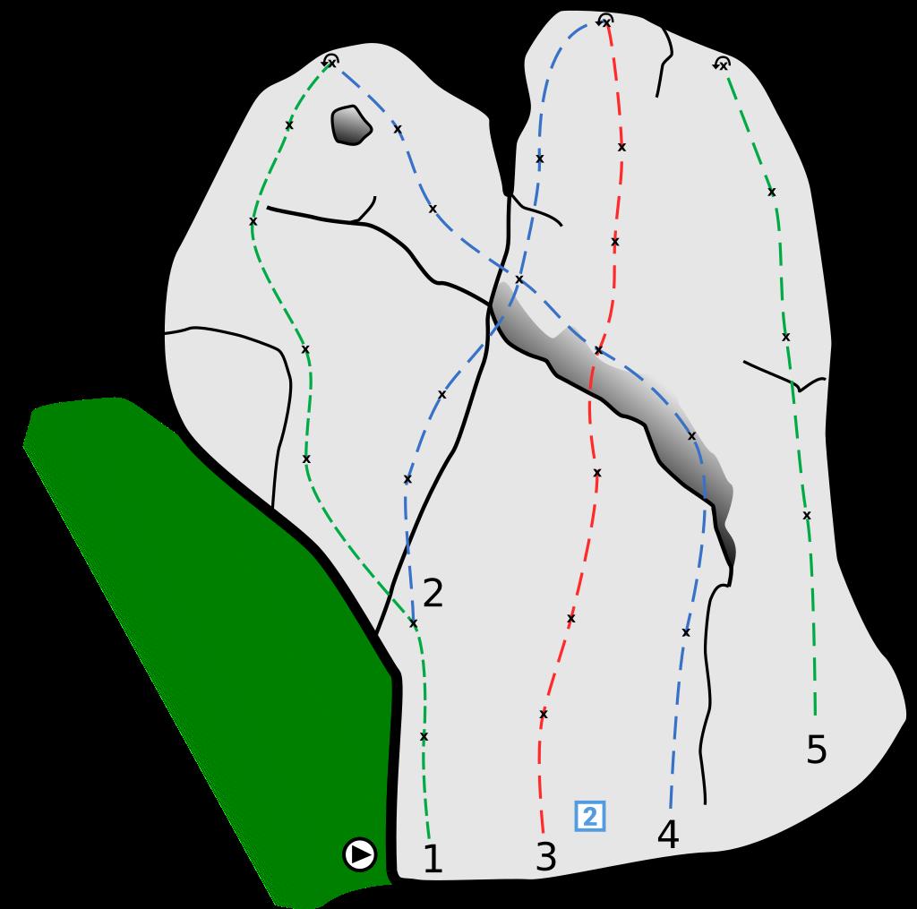 Die Grafik zeigt das Topo des Kletterfelsens Heidelberg Nordwand