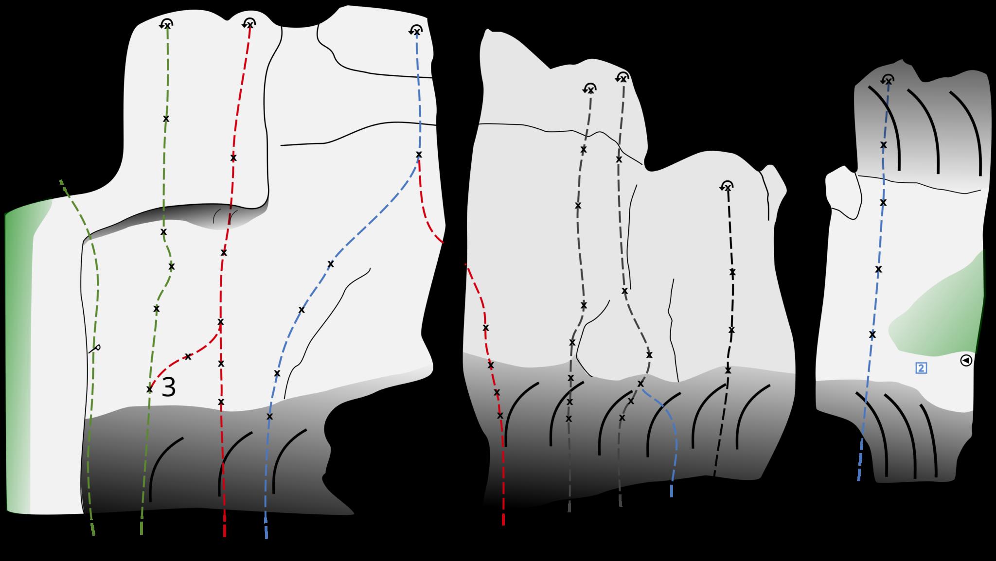 Die Grafik zeigt das Topo für den Felsen Traumschiff