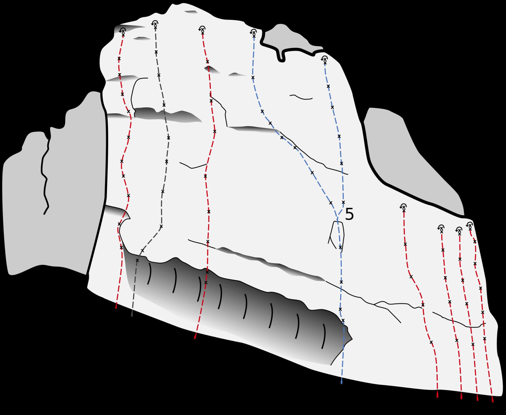 Das Bild zeigt eine Topo des Kletterfels Kleinziegenfelder Wacht im Kleinziegenfelder Tal