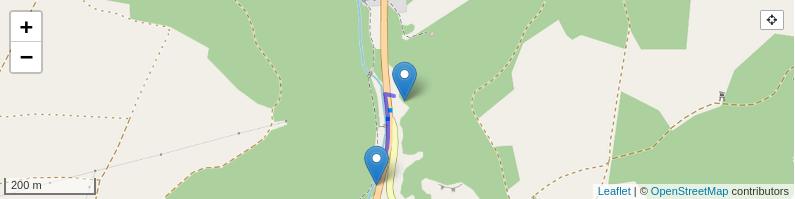 Das Bild zeigt einen Kartenausschnitt mit dem Zustieg vom Parkplatz zur Kleinziegenfelder Wacht